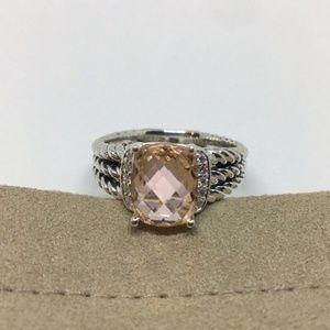 David Yurman Petite Wheaton Morganite Ring Size 7